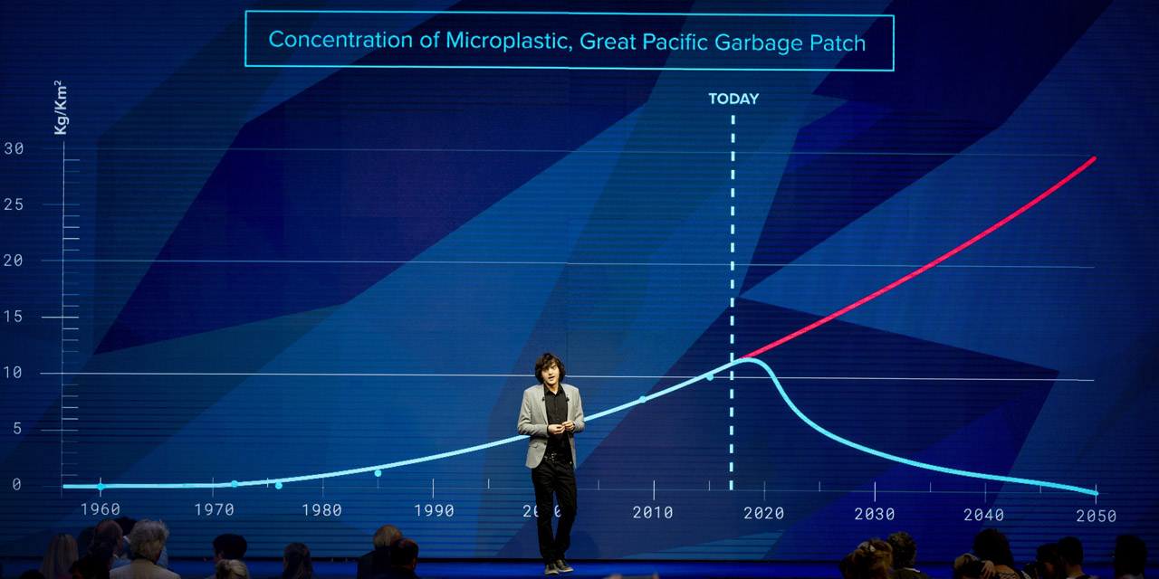 Dutch inventor Boyan Slat speaks during his presentation about the progress of The Ocean Cleanup, the Dutch foundation, who wants to do something about the huge amount of plastic surrounding the world sea with special cleaning ships, in Utrecht  on May 11, 2017.  The foundation expects to be located in the water at the end of 2017. / AFP PHOTO / ANP / Koen van Weel / Netherlands OUT